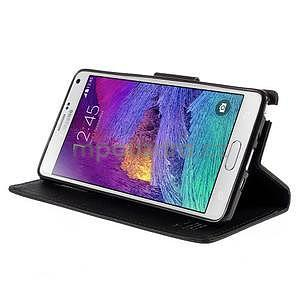 Stylové peňaženkové puzdro na Samsnug Galaxy Note 4 - čierne - 4