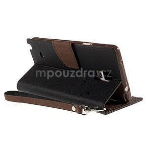 Stylové peňaženkové puzdro na Samsnug Galaxy Note 4 - čierne/hnedé - 4