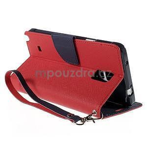 Štýlové peňaženkové puzdro pre Samsnug Galaxy Note 4 - červené - 4