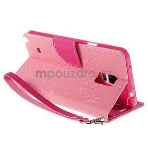Stylové peňaženkové puzdro na Samsnug Galaxy Note 4 -  ružové - 4