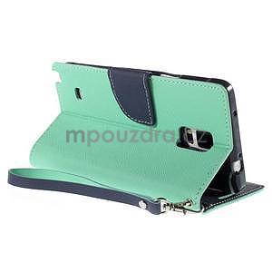 Štýlové peňaženkové puzdro pre Samsnug Galaxy Note 4 -  azúrové - 4