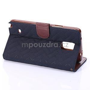 Elegantné peňaženkové puzdro pre Samsung Galaxy Note 4 - tmavomodre - 4