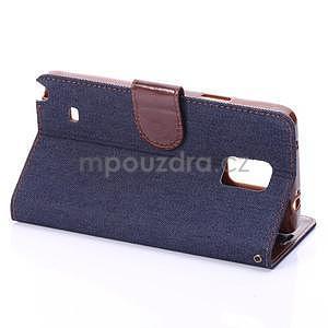 Jeans peňaženkové puzdro pre Samsung Galaxy Note 4 - tmavo modré - 4