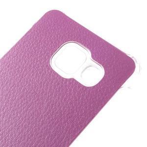 Plastový obal s koženkovým plátem na Samsung Galaxy A3 (2016) - růžový - 4