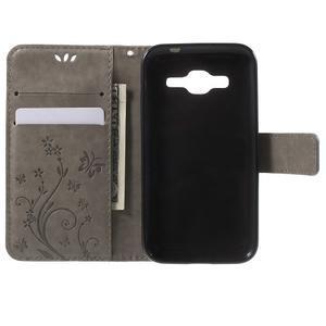 Butterfly PU kožené puzdro pre Samsung Galaxy Core Prime - šedé - 4