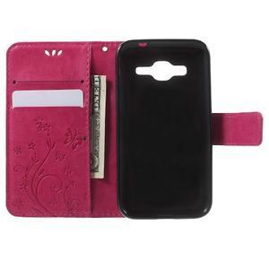 Butterfly PU kožené puzdro pre Samsung Galaxy Core Prime - rose - 4
