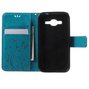 Butterfly PU kožené puzdro pre Samsung Galaxy Core Prime - modré - 4