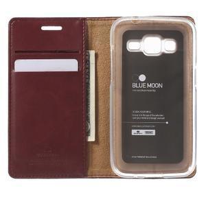 Moon PU kožené puzdro pre mobil Samsung Galaxy Core Prime - vínové - 4