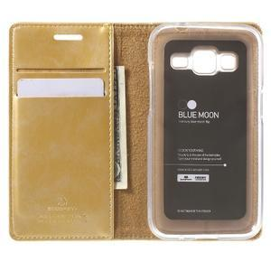 Moon PU kožené puzdro pre mobil Samsung Galaxy Core Prime - zlaté - 4