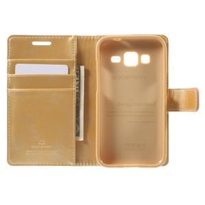 Moonleather PU kožené puzdro pre Samsung Galaxy Core Prime - zlaté - 4