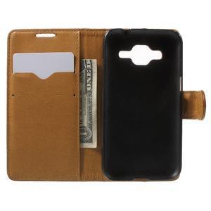 Horse PU kožené puzdro pre mobil Samsung Galaxy Core Prime - hnedé - 4