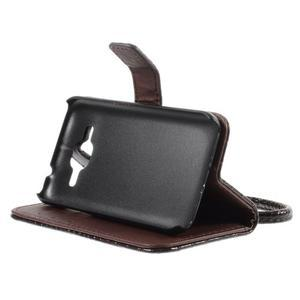 Croco peňaženkové puzdro pre Samsung Galaxy Core Prime - coffee - 4