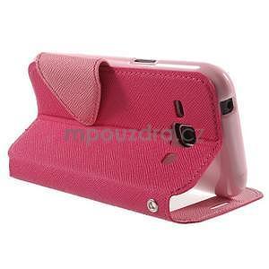 Kožené puzdro s okienkom Samsung Galaxy J1 - rose/ružové - 4