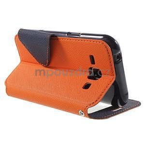Kožené puzdro s okýnkem Samsung Galaxy J1 - oranžové/tmavě modré - 4