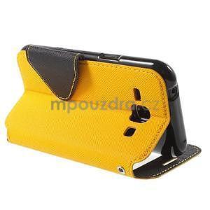 Kožené puzdro s okienkom Samsung Galaxy J1 - žlté/čierné - 4