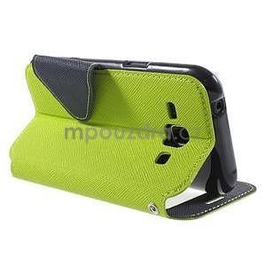 Kožené puzdro s okienkom Samsung Galaxy J1 - zelené/tmavo modré - 4