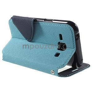 Kožené puzdro s okýnkem Samsung Galaxy J1 - světle modré/tmavě modré - 4
