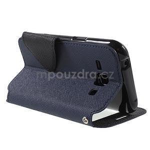 Kožené puzdro s okýnkem Samsung Galaxy J1 - tmavě modré/čierné - 4