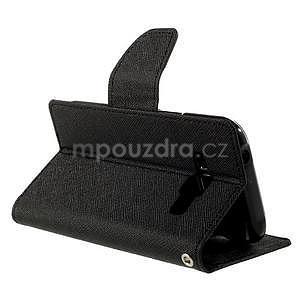 Čierné kožené puzdro pre Samsung Galaxy J1 - 4