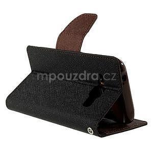 Čierné/hnedé kožené puzdro pre Samsung Galaxy J1 - 4