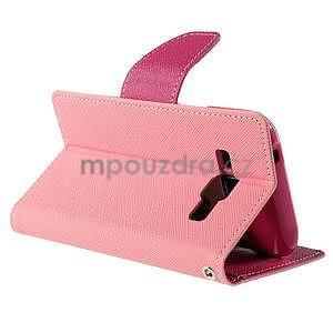 Růžové/rose kožené puzdro na Samsung Galaxy J1 - 4