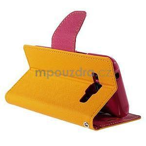 Žluté/rose kožené puzdro na Samsung Galaxy J1 - 4