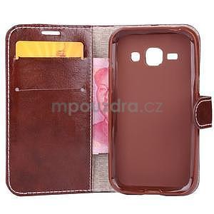 Peňaženkové puzdro Diagonal na Samsung Galaxy J1 - hnedé/čierné - 4