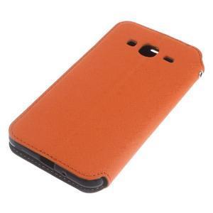 Roar PU kožené puzdro s okienkom pre Samsung Galaxy J3 (2016) - oranžové - 4