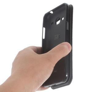 Peňaženkové PU kožené puzdro s okienkom pre Samsung Galaxy J3 (2016) - čierne - 4