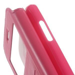 Peňaženkové PU kožené puzdro s okienkom pre Samsung Galaxy J3 (2016) - rose - 4
