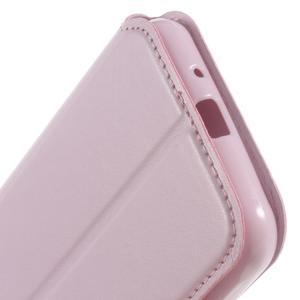 Peněženkové PU kožené pouzdro s okýnkem na Samsung Galaxy J3 (2016) - růžové - 4