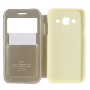 Peňaženkové PU kožené puzdro s okienkom pre Samsung Galaxy J3 (2016) - zlaté - 4