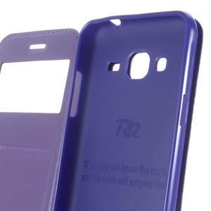 Peňaženkové PU kožené puzdro s okienkom pre Samsung Galaxy J3 (2016) - tmavomodré - 4
