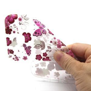 Trasnparent gelový obal na Samsung Galaxy J5 - motýlci a květiny - 4