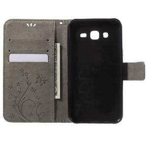Butterfly PU kožené puzdro pre Samsung Galaxy J5 - šedé - 4