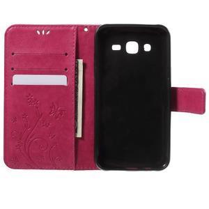 Butterfly PU kožené puzdro pre Samsung Galaxy J5 - rose - 4