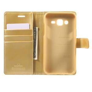 Mercury PU kožené puzdro pre mobil Samsung Galaxy J5 - zlaté - 4