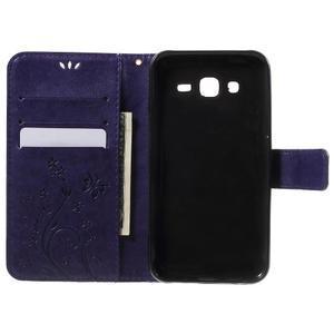 Butterfly PU kožené puzdro pre Samsung Galaxy J5 - fialové - 4