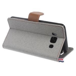 Denim peňaženkové puzdro pre Samsung Galaxy J5 (2016) - šedé - 4