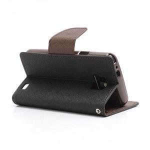 Diary PU kožené puzdro pre mobil Samsung Galaxy S2 - čierne/hnedé - 4