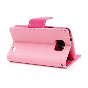 Diary PU kožené pouzdro na mobil Samsung Galaxy S2 - růžové - 4