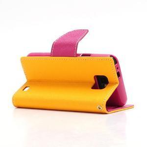 Diary PU kožené puzdro pre mobil Samsung Galaxy S2 - žlté - 4