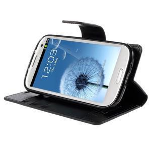 Diary PU kožené puzdro pre mobil Samsung Galaxy S3 - čierne - 4