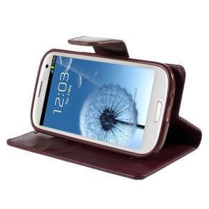 Diary PU kožené puzdro pre mobil Samsung Galaxy S3 - vínové - 4