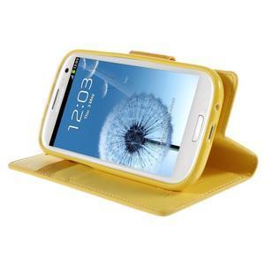 Diary PU kožené pouzdro na mobil Samsung Galaxy S3 - žluté - 4