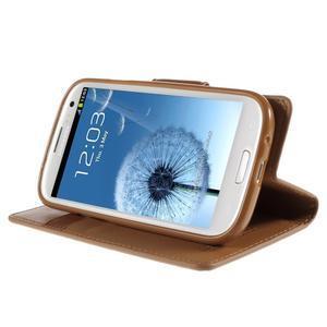 Diary PU kožené puzdro pre mobil Samsung Galaxy S3 - hnedé - 4