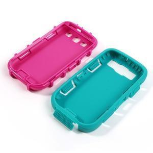 Odolné silikonové pouzdro na mobil Samsung Galaxy S3 - modré/rose - 4