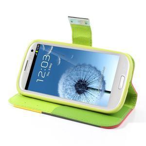 Tricolors PU kožené puzdro pre mobil Samsung Galaxy S3 - čierný stred II - 4