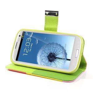 Tricolors PU kožené pouzdro na mobil Samsung Galaxy S3 - žlutý střed - 4