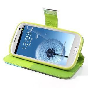 Tricolors PU kožené puzdro pre mobil Samsung Galaxy S3 - tmavozelený stred - 4